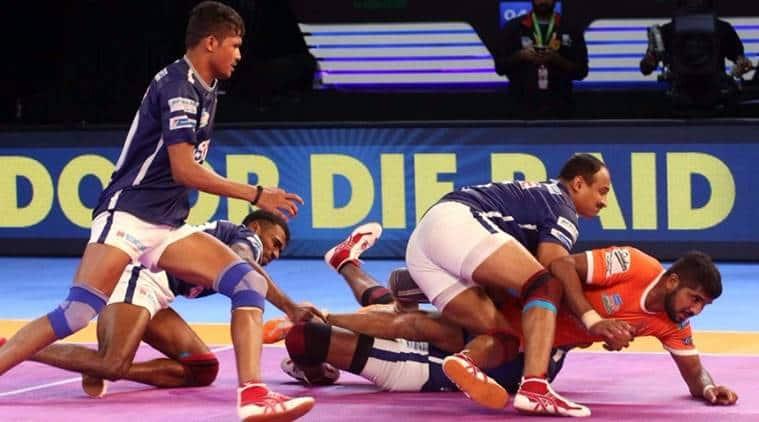 pro kabaddi, pro kabaddi league, pro kabaddi tackle, kabaddi tackle, nilesh shinde, sandeep narwal, kabaddi tackle video, pkl, pkl news, sports news, indian express