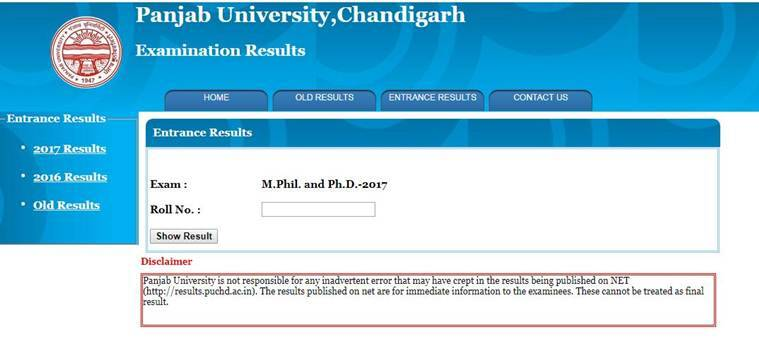 Panjab University MPhil, PhD entrance exam results 2017: Faculty of arts, design, fine arts results available atpuchd.ac.in