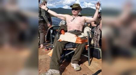 Russian President Vladimir Putin goes fishing 'shirtless' in Siberia, Twitterati have a field day