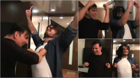 Akshay Kumar, Ranveer Singh celebrate Toilet Ek Prem Katha's success with a cheap dance leaving us in splits. Watch video