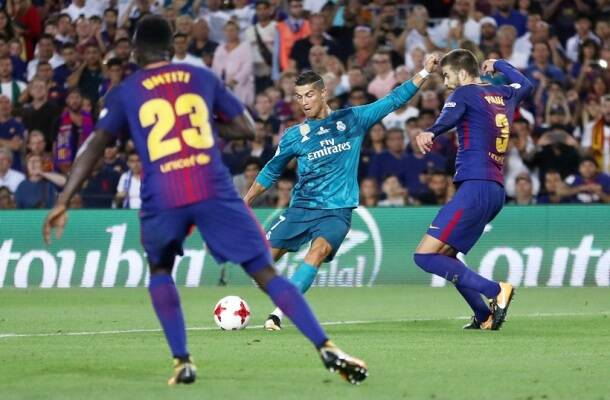 Barcelona vs Real Madrid, Spanish Super Cup 1st leg, Cristiano Ronaldo, El Clasico, Lionel Messi, sports gallery, football, Indian Express