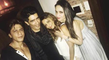 Shah Rukh Khan and wife Gauri Khan had a fun time at Manish Malhotra's party. See photo