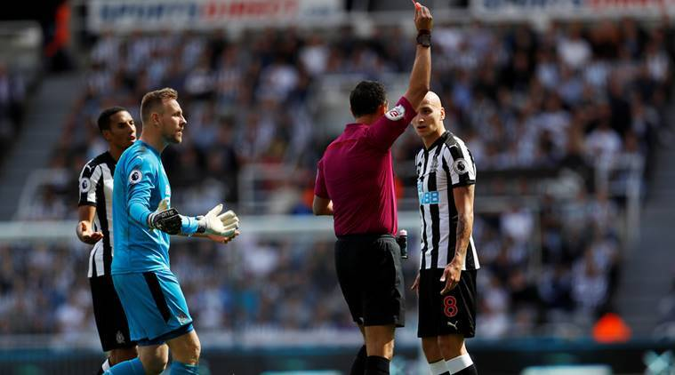 jonjo shelvey, newcastle united, jonjo shelvey red card, english premier league red cards, football news, sports news, indian express