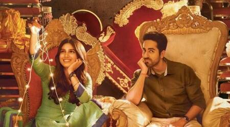 Shubh Mangal Saavdhan new poster: While Ayushmann Khurrana is bored, Bhumi Pednekar is playing with fairy lights