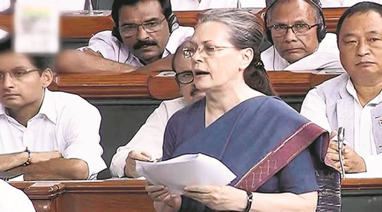 Sonia Gandhi, Lok Sabha, Monsoon session, India news, Quit India Movement, Quit India Movement anniversary, Indian express