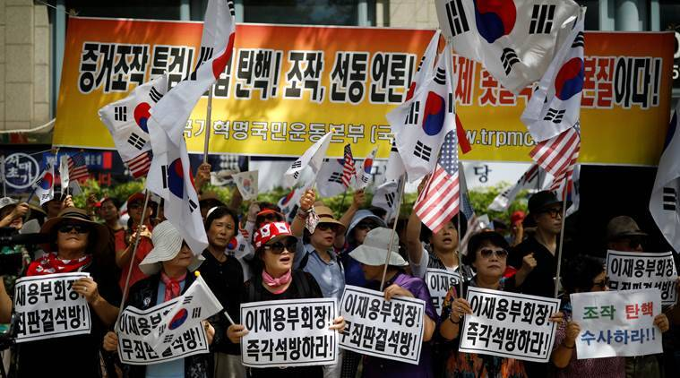 Jay Y. Lee, Jay Y. Lee supporters, Park Geun-hye,  samsung, jay y lee arrested, world news, indian express news