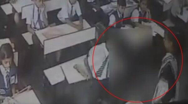 child hit 40 times by teacher video, lucknow kid hit in school, child hit in school, teacher beats kid 40 times, kid no roll call beaten, indian express, indian express news
