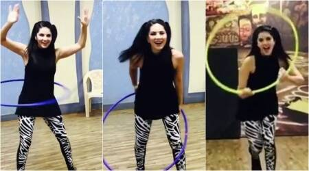 Sunny Leone is having fun with hula hoops at the rehearsals of Bhoomi's dance number Trippy Trippy, see videos