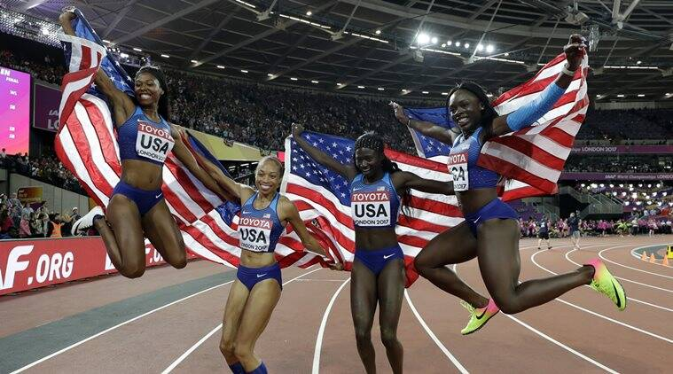 Tori Bowie, women's 4x100 metres relay, World Championships, Allyson Felix, sports news, Indian Express