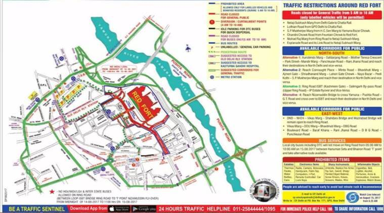 independence day 2017, delhi traffic advisory 15 august, road open today, how to reach north delhi on 15th aug, list of closed roads in delhi, delhi traffic police, bus timings 15th august, metro timings on august 15, indian express