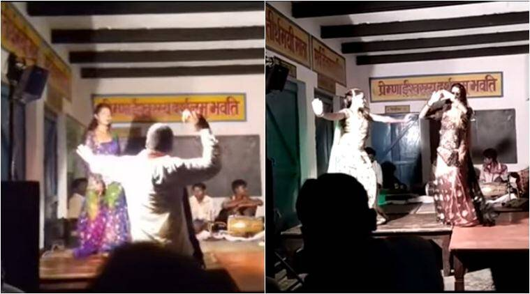 uttar pradesh,  government school, mirzapur, mirzapur govt school, mirzapur school turned dance bar, gram pradhan school dance bar, viral news, weird news, odd news, indian express
