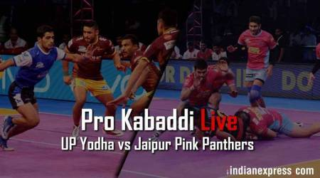 Pro Kabaddi 2017 Live Score, UP Yoddha vs Jaipur Pink Panthers: UP Yoddha 22 - 24 Jaipur in Lucknow