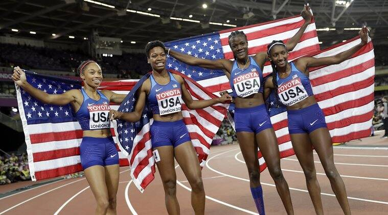 United States, women's 4x400m relay, Jamaica, World Championships, sports news, Indian Express