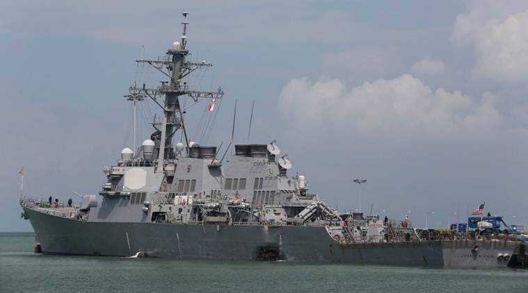 US navy collision, USS John S McCain, singapore collision, ship collision, us navy, singapore, malaysia, Changi Naval Base, Admiral John Richardson