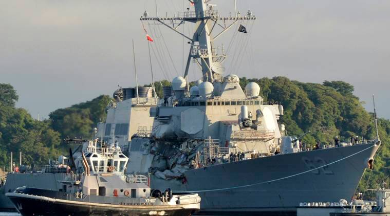 us navy, uss fitzgerald, american navy ship drown, indian express