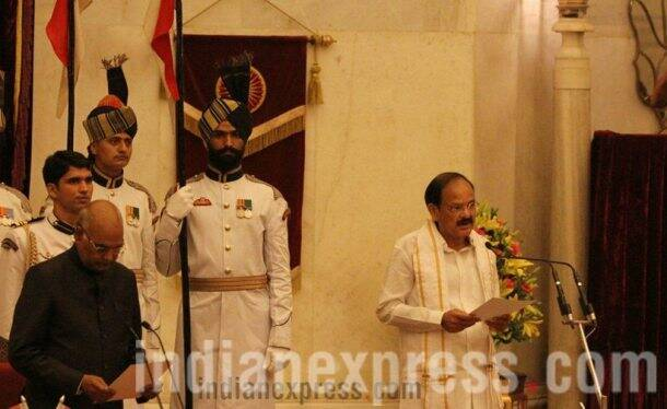 venkaiah naidu, vice president, naidu swearing in, vice president swear in ceremony, vice president venkaiah naidu, rajya sabha chairman, indian express