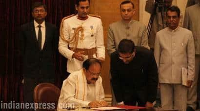 Venkaiah Naidu, Venkaiah Naidu Photos, Vice President Venkaiah Naidu, Venkaiah Naidu Bio, Venkaiah Naidu takes Oath as Vice President, Vice Presidential Elections, Venkaiah Naidu Rajya Sabha, bjp, new vp of india, indian express