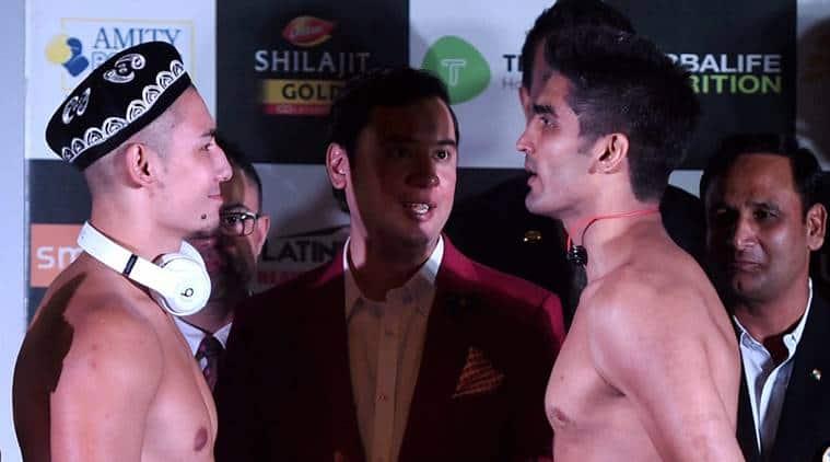 vijender singh, vijender singh vs Zulpikar Maimaitiali, vijender singh boxing, battleground asia boxing, boxing news, sports news, indian express