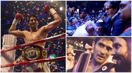 Vijender Singh wins WBO Asia Pacific Super Middleweight title, Amitabh Bachchan, Randeep Hooda, Kapil Sharma‏ celebrate. See photos, videos