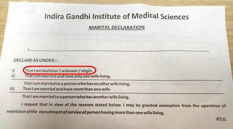 virgin, virginity status, are you a virgin, indira gandhi institute of medical sciences, igims patna, igims patna marital declaration form, marital declaration form virginity, indian express, indian express news