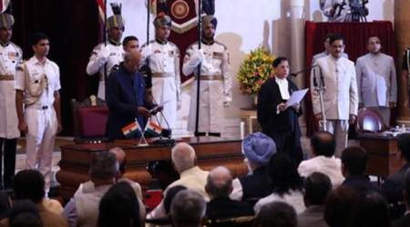 Justice Dipak Mishra taking oath as 45th CJI. (Source: Twitter/@ANI)