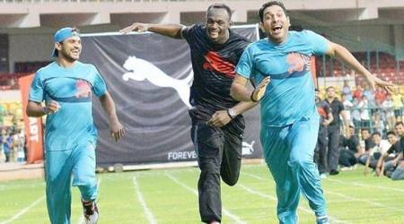 yuvraj singh, usain bolt, yuvraj singh usain bolt race, bolt tributes, world athletics championship, athletics news, sports news, indian express