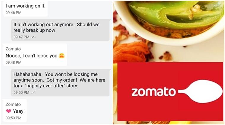 zomato, Zomato customer, zomato funny conversation viral, zomato executive flirts with customer hilarious viral, indian express, indian express news
