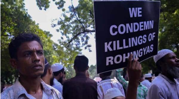 rohingya muslims, rohingya muslims protest, rohingya muslims new delhi, rohingya muslims jantar mantar, myanmar, burma, Aung San Suu Kyi, Indian express news