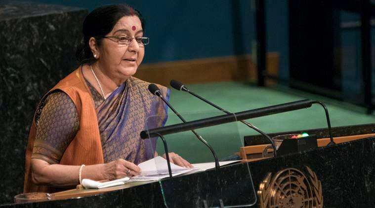 Sushma Swaraj, Sushma Swaraj UNGA, sushma swaraj UNGA address, Sushma Swaraj on Pakistan, Pakistan, Swaraj Terroris, demonetisation, UNSC, India Pakistan, sushma on Abassi, India News, Indian Express
