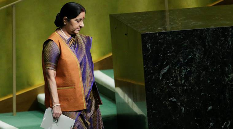Sushma Swaraj, Sushma Swaraj UNGA address, Narendra Modi, Modi Twitter, EAM, UN General Assembly, Modi Swaraj, India at UN, India News, Indian Express