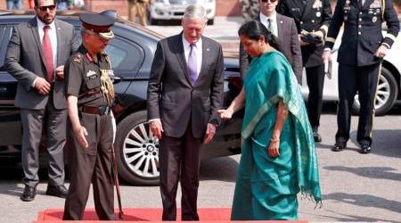 jim mattis, us defence secretary, jim mattis in india, Mattis India visit, defence minister, nirmala sitharaman, india defence minister nirmala sitharaman, india us ties, indian express, F16 fighters, maritime exercise, India News, Indian Express