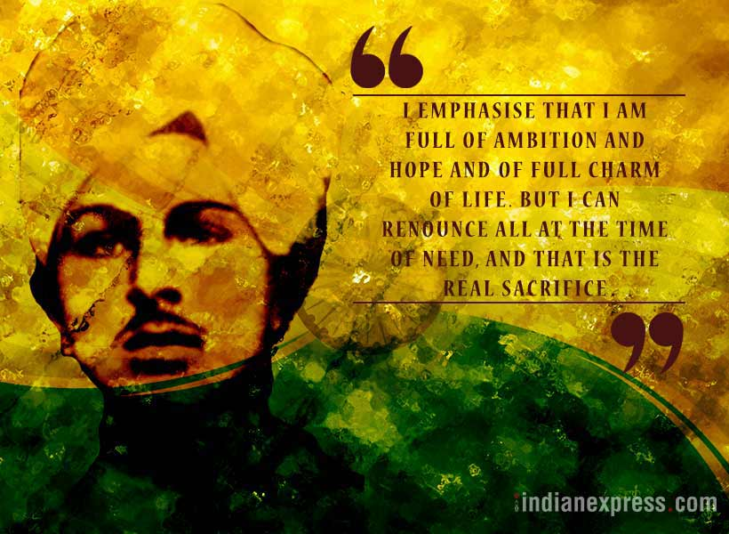 bhagat singh, shaheed bhagat singh, inspiring quotes by bhagat singh, matyrs of india, indian express, indian express news
