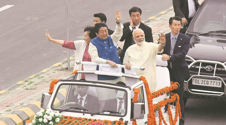 Xi Jinping, Shinzo Abe, narendra modi, modi jacket, abe modi, abe in india, abe meet modi, ahmedabad abe modi, ahmedabad mumbai bullet train, indian express