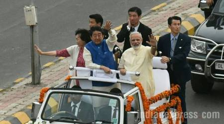 Shinzo Abe in Gujarat: Bear-hug with Modi at airport, then 8-km roadshow and visit to Sabarmati Ashram
