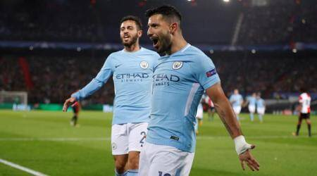 Sergio Aguero reaches goals milestone as Manchester City thrash Feyenoord