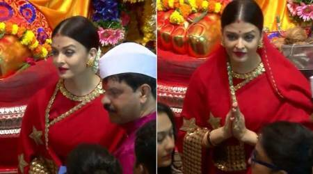 Ganesh Chaturthi 2017: Aishwarya Rai Bachchan bids adieu to Lalbaugcha Raja, looks like a dream in red
