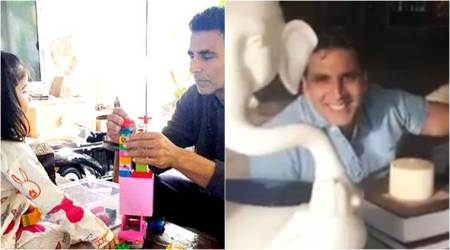 Watch: Akshay Kumar's birthday was made special by his darling daughter Nitara and wife Twinkle Khanna