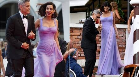 Amal Clooney looked drop-dead gorgeous in a lilac Versace gown at 2017 Venice Film Festival