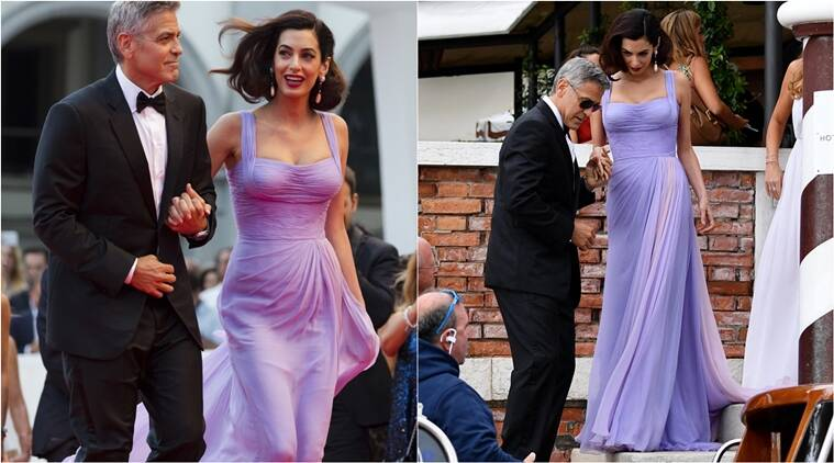 Amal Clooney looked drop-dead gorgeous in a lilac Versace