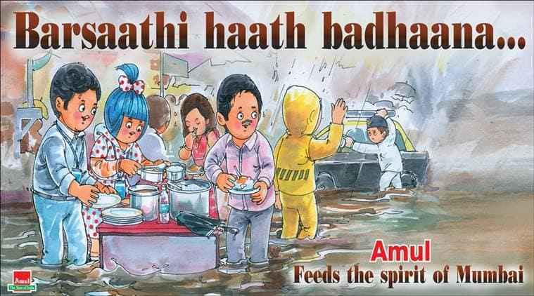 mumbai, mumbai rains, mumbai flood, mumbai people flood, spirit of mumbai, amul, mumbai people during flood, mumbai free food flood, amul cartoons, india news, mumbai news