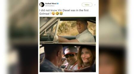 Vin Diesel was in Golmaal? Arshad Warsi tweets photo and 'confuses' the Internet
