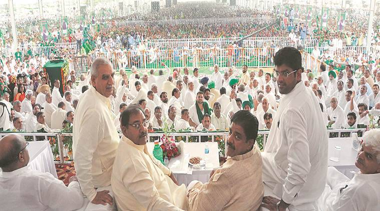2019 Assembly polls, 2019 Haryana Assembly polls, Haryana assembly polls, INLD, INLD Bhiwani rally, INLD on farmers, INLD targets farmer votes, Ajay Singh Chautala, Ajay Singh Chautala parole, Abhay Singh Chautala, INLD president Ashok Arora, indian express news