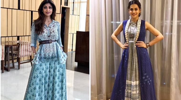 latest pictures of taapsee pannu, latest pictures of aditi rao hydari, latest pictures of shilpa shetty, saptami blue dresses, navratri fashion, indian express, indian express news