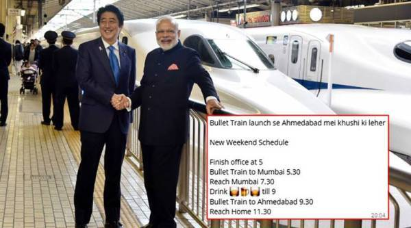 bullet train, bullet train ahmedabad mumbai, bullet train modi shinzo abe, bullet train jokes, indian express, indian express news