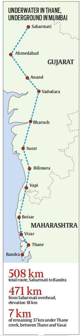 The bullet train route, mostly overhead, a stretch undersea | India