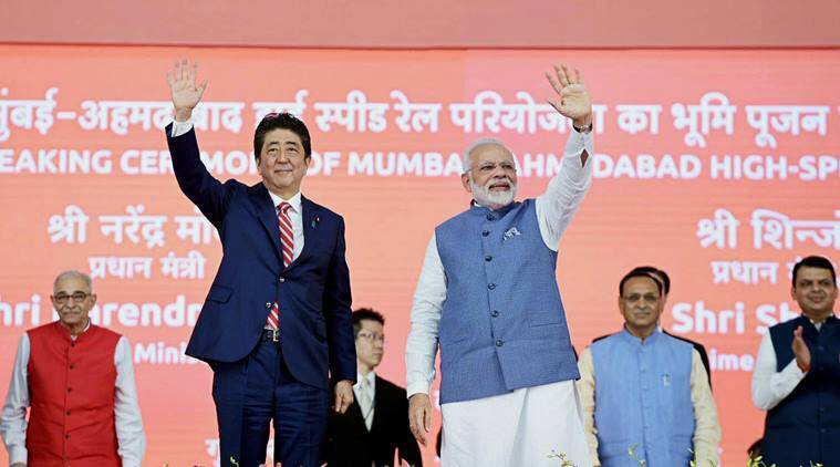 narendra modi, shinzo abe, shinzo abe in gujarat, india japan ties, india japan relations, bullet train, india bullet train, gujarat bullet train, india japan deals, india japan terrorism