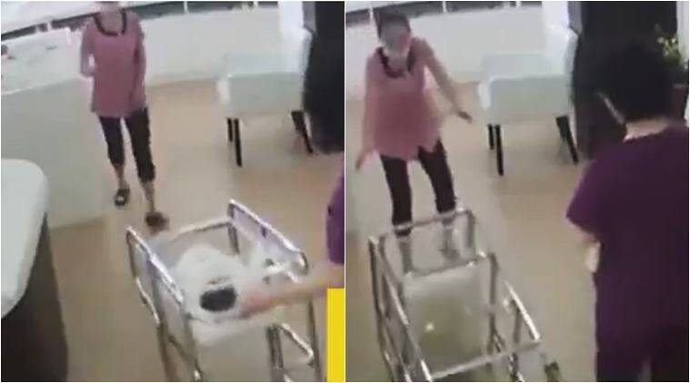 china, baby fall cradle, hospital negligence, infant fall in hospital, nurse push child cradle, shocking videos, china viral videos, indian express