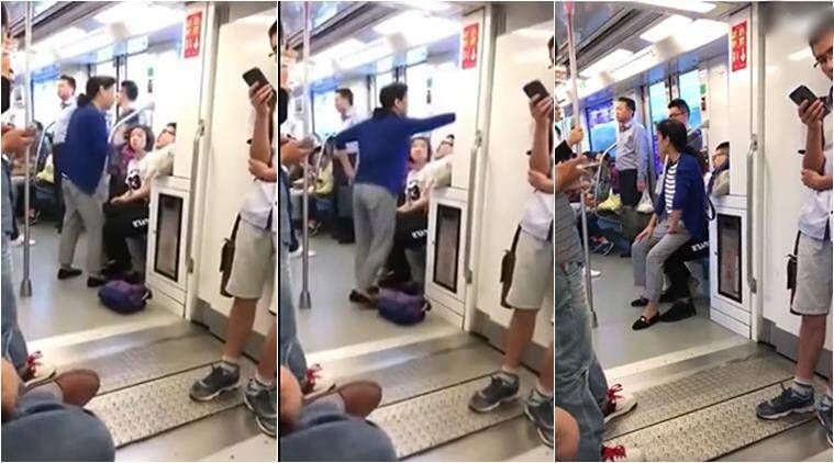train fight, fight over seat, china, china seat fight, chinese woman sit on man lap, funny videos, viral videos, china news, indian express,