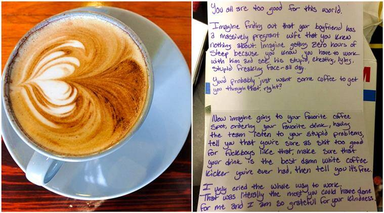 Woman leaves a 'thank you' note for coffee shop staff after