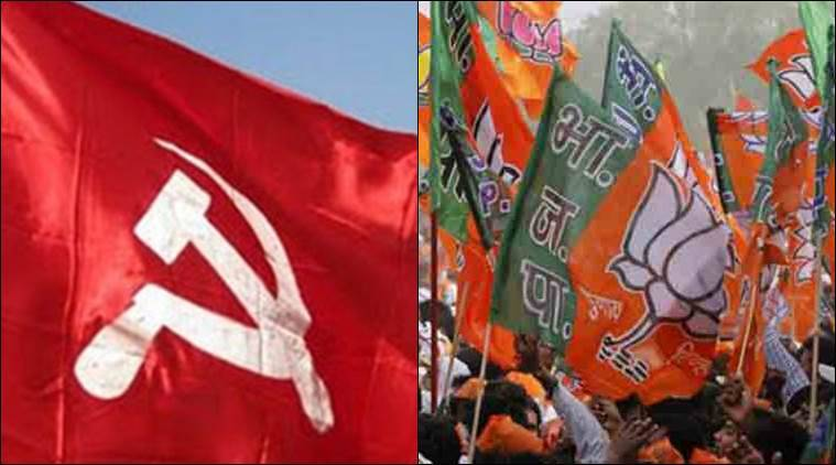 Image result for pics of cpm flag + bjp flag